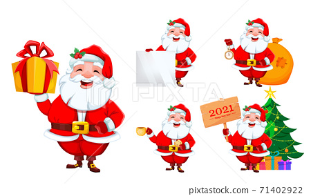 Merry Christmas and Happy New Year. Smiling Santa 71402922