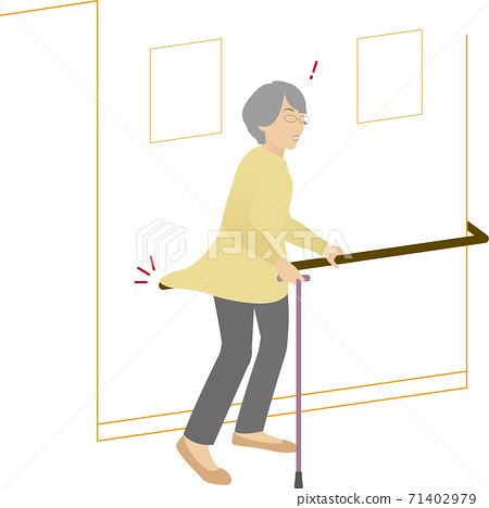 A woman walking with a cane while being puzzled by the railing 71402979