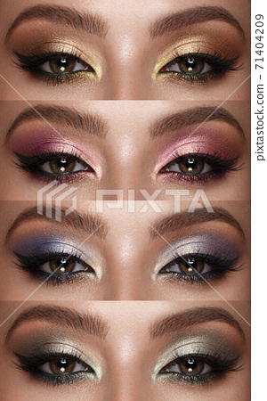 Collection of eyes shadows colorful hues. The palette of lipsticks. Close-up 71404209