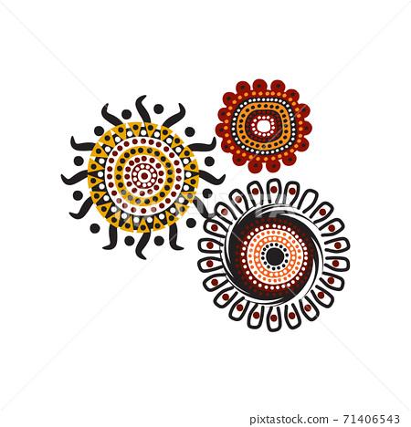 Aboriginal art dots paining icon logo design template 71406543