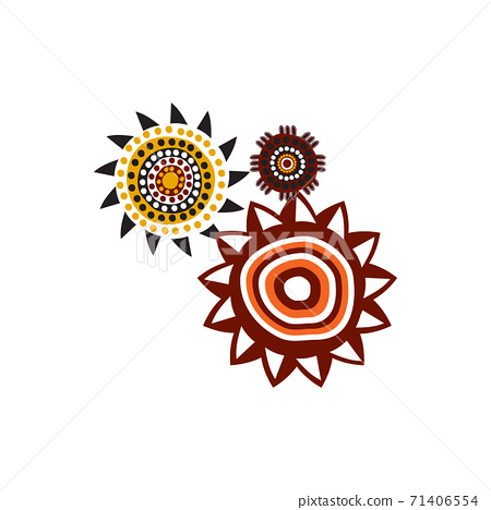 Aboriginal art dots paining icon logo design template 71406554