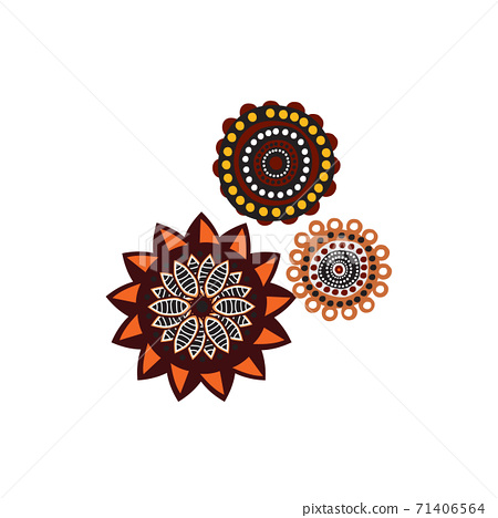Aboriginal art dots paining icon logo design template 71406564