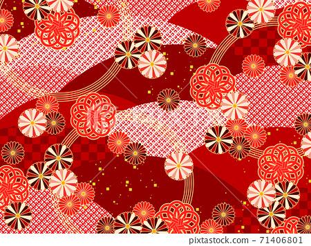 菊花和水日本圖案背景 71406801