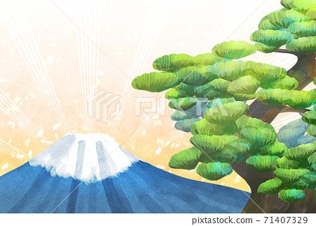 소나무와 후지산의 일러스트, 연하장 크기 71407329