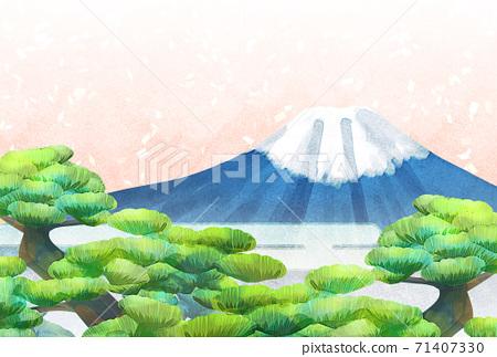 소나무와 후지산의 일러스트, 연하장 크기 71407330