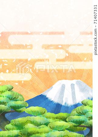 소나무와 후지산의 일러스트, 연하장 크기 71407331