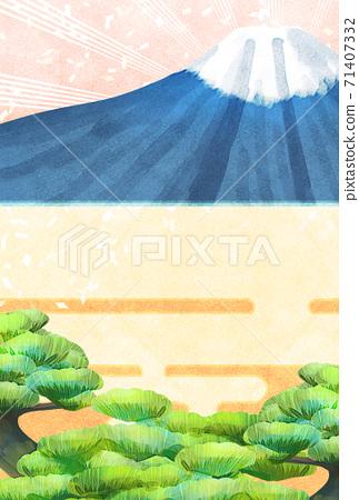 소나무와 후지산의 일러스트, 연하장 크기 71407332