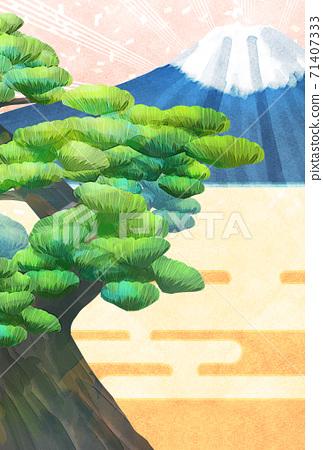 소나무와 후지산의 일러스트, 연하장 크기 71407333