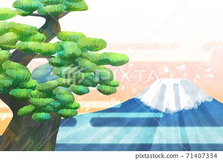 소나무와 후지산의 일러스트, 연하장 크기 71407334
