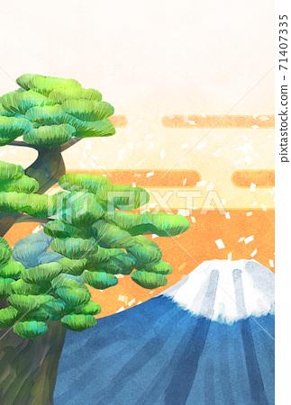 소나무와 후지산의 일러스트, 연하장 크기 71407335