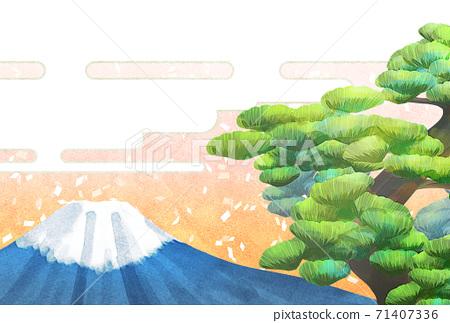 소나무와 후지산의 일러스트, 연하장 크기 71407336