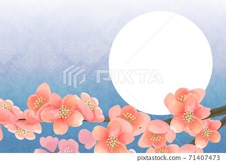 매화의 꽃 사진 프레임, 엽서 사이즈, 연하장 용 71407473