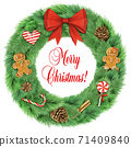 Realistic vintage Christmas wreath with decorations 71409840