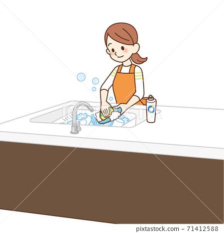家庭主婦洗碗 71412588