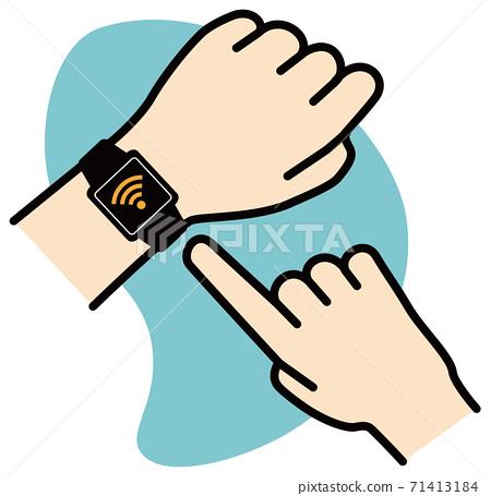 矢量圖的操作智能手錶的Wi-Fi圖標 71413184