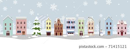 겨울의 거리 - 외국 풍 가로 71415121