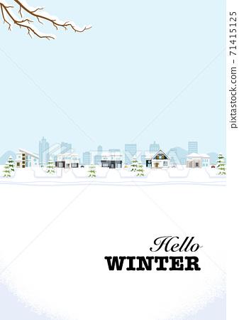 """겨울의 거리 - 교외의 주택가 수직 A4 비율 식별자가있는 """"Hello WINTER"""" 71415125"""