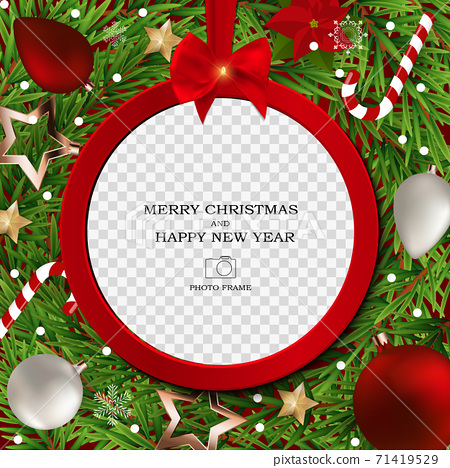 Merry Christmas and Happy New Year Photo Frame Template. Vector Illustration 71419529