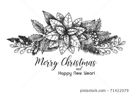 Postcard with a Christmas plant. Poinsettia. 71422079