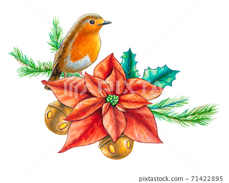Watercolor Christmas composition 71422895