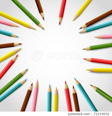 Vector realistic colorful pencil frame with blank space for your text 71424650