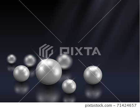Group of beautiful vector shining pearls on dark blue background with blurred light beams - luxury, beauty concept 71424657