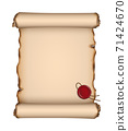 Vector blank antique parchment sheet with torn and burnt edges and red wax seal on white background 71424670