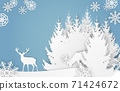 Vector paper cut style landscape with deers, forest and snowflakes on blue background 71424672