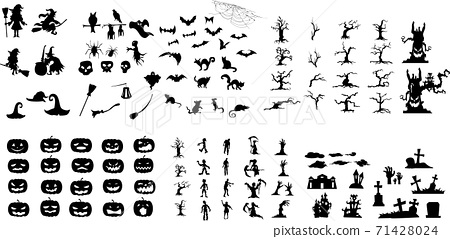 Collection of halloween silhouettes icon and character. Vector illustration. 71428024