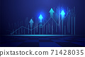 Business candle stick graph chart of stock market investment trading on blue background. Bullish point, Trend of graph. Eps10 Vector illustration. 71428035