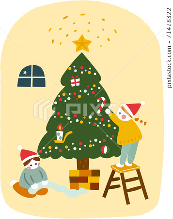 孩子們為聖誕節做準備 71428322