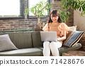 젊은 여성 재택 근무 71428676
