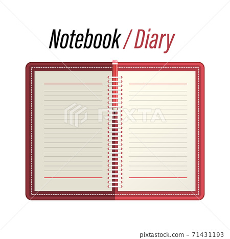 Empty Notebook - Memo - Diary with Lined Papers and Pencil 71431193