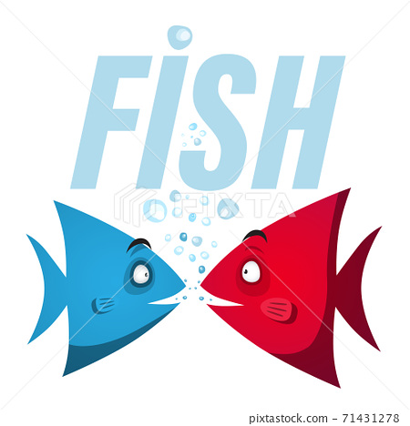 Blue and Red Scalare Fish with Water Bubbles 71431278