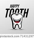 Happy Tooth Vector Cartoon Isolated 71431297