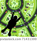 Parachutist - Skydiver Jump with City Streets on Earth Down on Background - Vector 71431300