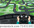Car Interior with Hands on Steering Wheel and City Map 71431301