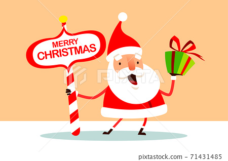 Santa Claus with Christmas gift box present and North Pole signboard. 71431485