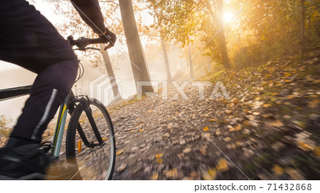 Cycling in a hazy autumn forest. Riding a bicycle, with motion blurred ground in golden sunshine.  71432868