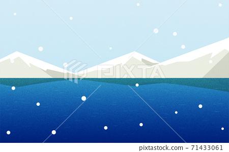 배경 소재 : 눈 오는 날의 호수와 산 71433061