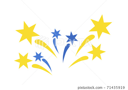 Fireworks icon, splashes of blue and gold 71435919