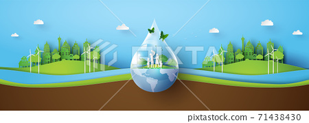 environment with green city 71438430