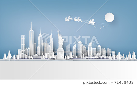 Illustration of Santa Claus on the sky coming to City 71438435