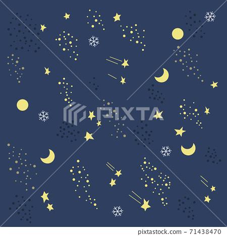 月亮和星星圖案矢量圖 71438470