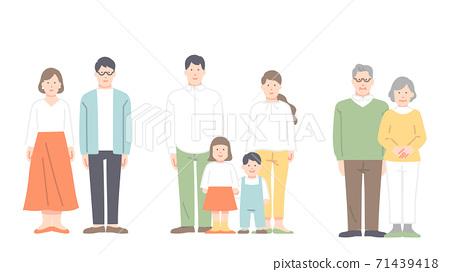 夫妻和家人的全身插圖 71439418