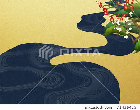 송죽매와 파도의 일본식 배경 - 여러 종류가 있습니다 71439425