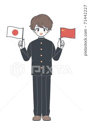 중국 국기와 일본 국기를 가진 교복의 학생 벡터 71442227