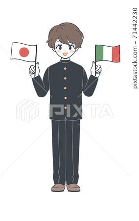學生/學校用意大利國旗和日本國旗運行的矢量 71442230