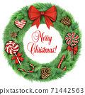 Realistic wreath with big red bow and Christmas decorations 71442563