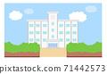 學校建築圖框素材學校背景藍天矢量手繪 71442573